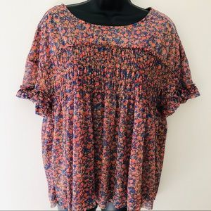 Anthropologie Deletta Floral Top Size Large